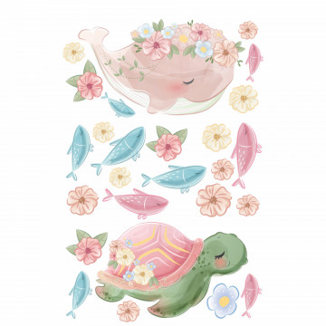 Set stickere decorative perete copii - Animale marine, 60x90cm