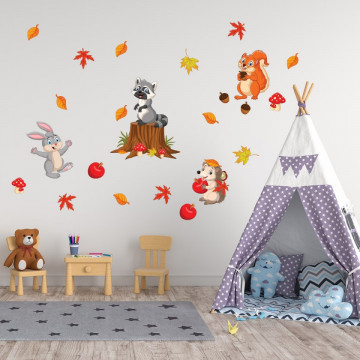 Set stickere decorative perete copii - Animalele din padure 60x90