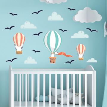 Set stickere decorative perete copii - Baloane cu aer cald 60x90