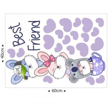 Set stickere decorative perete copii - Best friends iepurasii