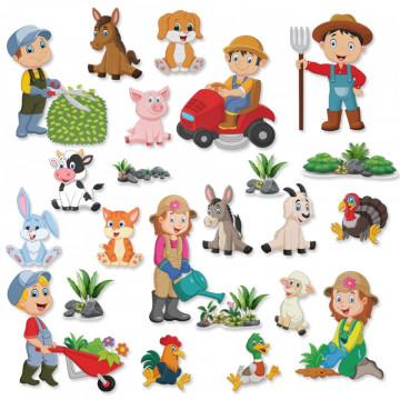 Set stickere decorative perete copii - Ferma12, 60x90cm