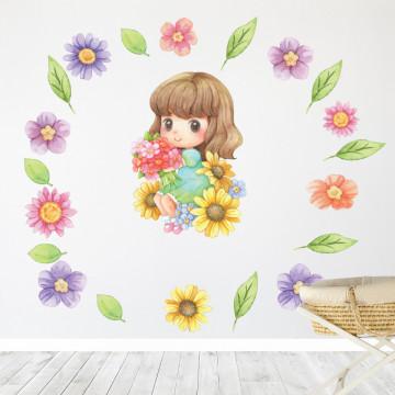 Set stickere decorative perete copii - Fetita cu flori , 60x90 cm
