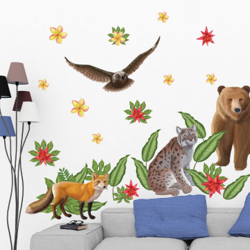 Set stickere decorative perete copii - Forest Animals2 , 60x90cm