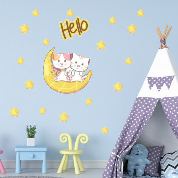 Set stickere decorative perete copii - Pisicutele pe luna 60x90