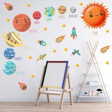 Set stickere decorative perete copii - Planetele1, 60x90cm