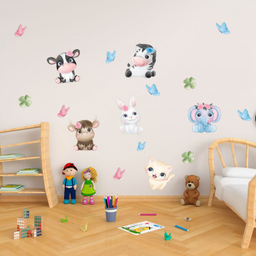 Set stickere decorative perete copii - Pui de animale3, 60x90cm