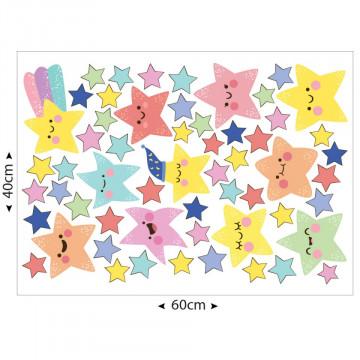 Set stickere decorative perete copii - Stelute vesele 40x60