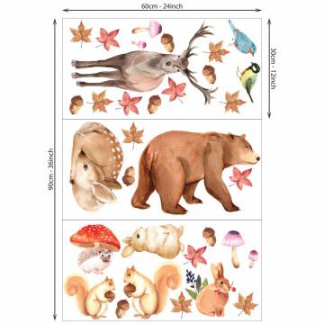 Set stickere decorative perete copii - Toamna Animalelor, 60x90cm