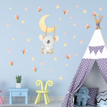 Set stickere decorative perete copii - Ursuletul Koala in leagan pe luna 60x90