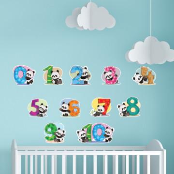 Set stickere decorative perete copii - Ursuletul panda si numerele , 60x60 cm
