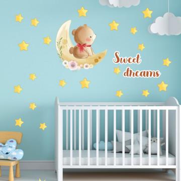 Set stickere decorative perete copii - Ursuletul pe luna 60x90