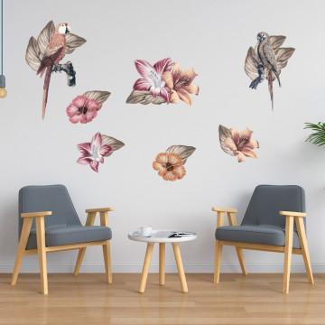Set stickere decorative perete - Floricele & Papagali, 60x90cm