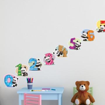 Stickere Educationale copii - Numerele cu ursuletul Panda, set 30x40cm
