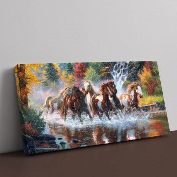 Tablou Canvas, Caii din padurea tomnatica