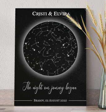 """Tablou Canvas personalizat """"Harta Stelelor"""" - The night our journey began"""