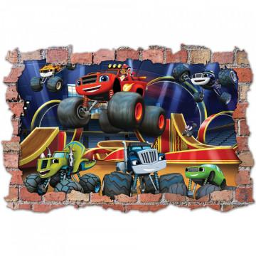 3D Sticker perete 60x90cm - Blaze si masinile