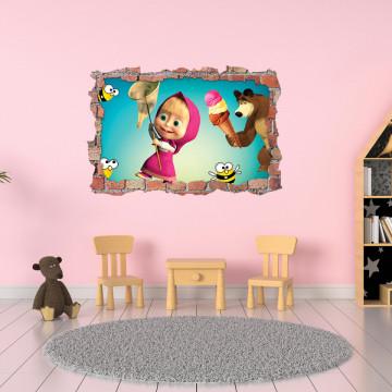 3D Sticker perete 60x90cm - Masha si Ursul
