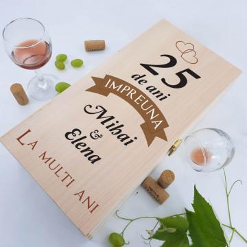 Cutie de vin dubla personalizata - 25 de ani impreuna
