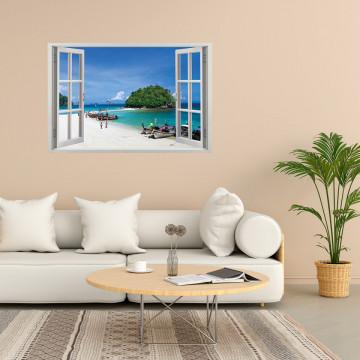 Fereastra 3D, Sticker perete - Peisaj cu barci pe tarmul oceanului