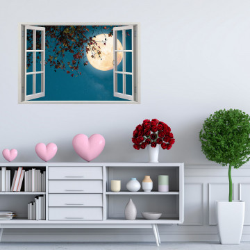 Fereastra 3D, Sticker perete - Peisaj nocturn
