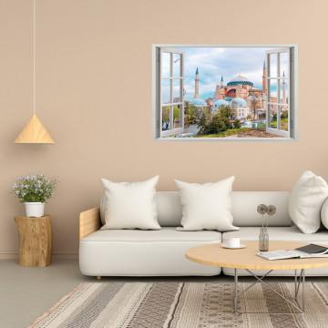 Fereastra 3D, Sticker perete - Peisaj urban cu moschee