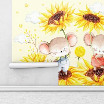 Fototapet autoadeziv copii - Soriceii cu Floarea Soarelui