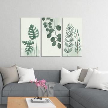 Set 3 Tablouri Canvas, Frunze