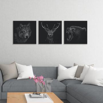 Set 3 Tablouri Canvas, Lupul & Cerbul & Ursul