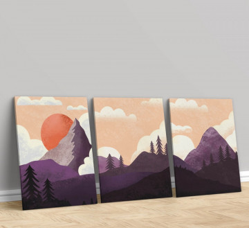 Set 3 Tablouri Canvas, The sky