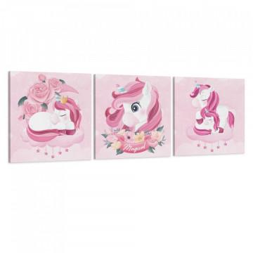 Set 3 Tablouri Canvas, Unicornul magic