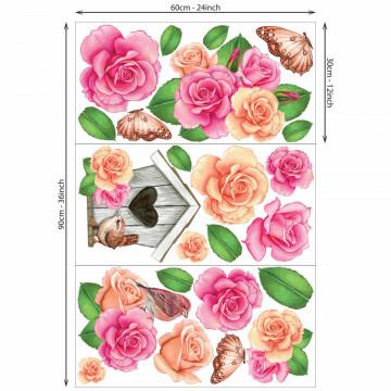 Set stickere decorative perete - Casuta cu Pasarele & Flori, 60x90cm