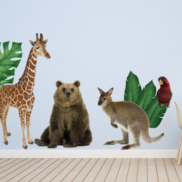 Set stickere decorative perete copii - Animalele Junglei 5 , 60x90cm