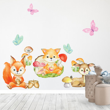 Set stickere decorative perete copii - Animalele padurii , 60x60cm