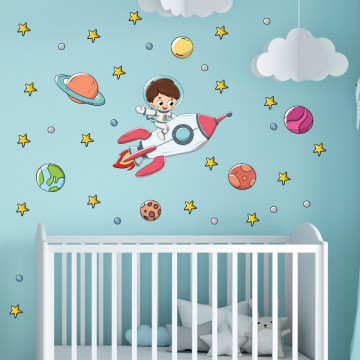 Set stickere decorative perete copii - Astronautul 60x90