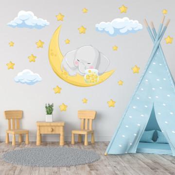 Set stickere decorative perete copii - Elefantul somnoros2, 60x60cm