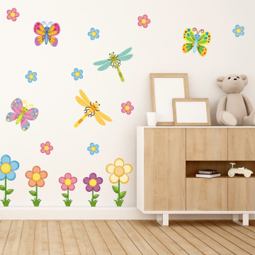 Set stickere decorative perete copii - Floricele & Fluturasi