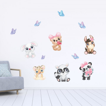 Set stickere decorative perete copii - Pui de animale1, 60x90cm