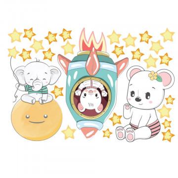 Set stickere decorative perete copii - Racheta & Luna 60x90