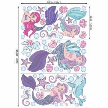 Set stickere decorative perete copii - Sirenele3, 60x90 cm