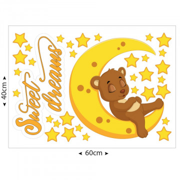 Set stickere decorative perete copii - Sweet dreams ursulet maro