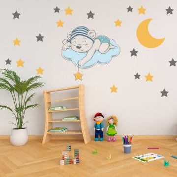 Set stickere decorative perete copii - Ursuletul doarme pe luna
