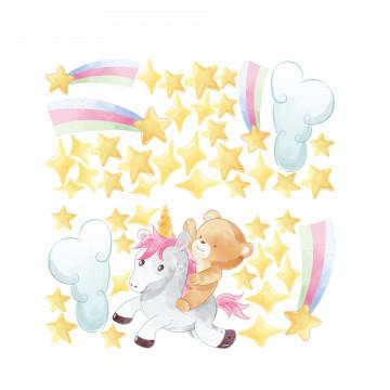Set stickere decorative perete copii - Ursuletul zburator cu unicorn, 60x60 cm