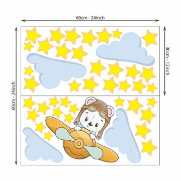 Set stickere decorative perete copii - Ursuletul zburator9 , 60x60 cm