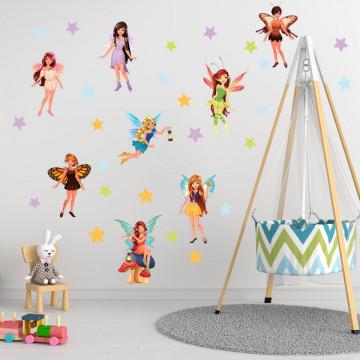 Set stickere decorative perete copii - Zanele6 , 60x90 cm