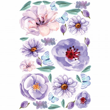 Set stickere decorative perete - Flori & Fluturi, 60x90cm
