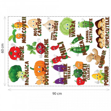 Stickere Educationale copii - Legumele vesele, set 60x90cm