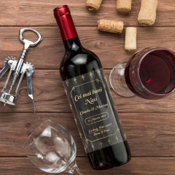 Sticla vin Personalizata - Doua texte, nume si data