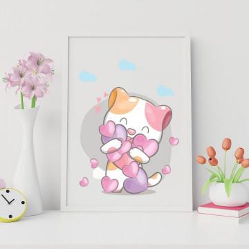 Tablou - Pisicuta cu inimioare