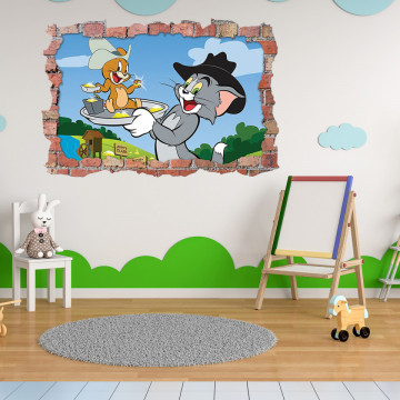 3D Sticker perete 60x90cm - Tom si Jerry