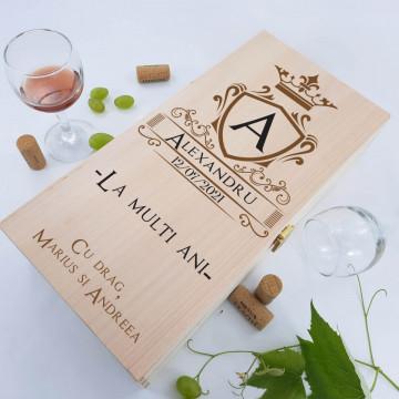 Cutie de vin dubla personalizata - Initiala numelui